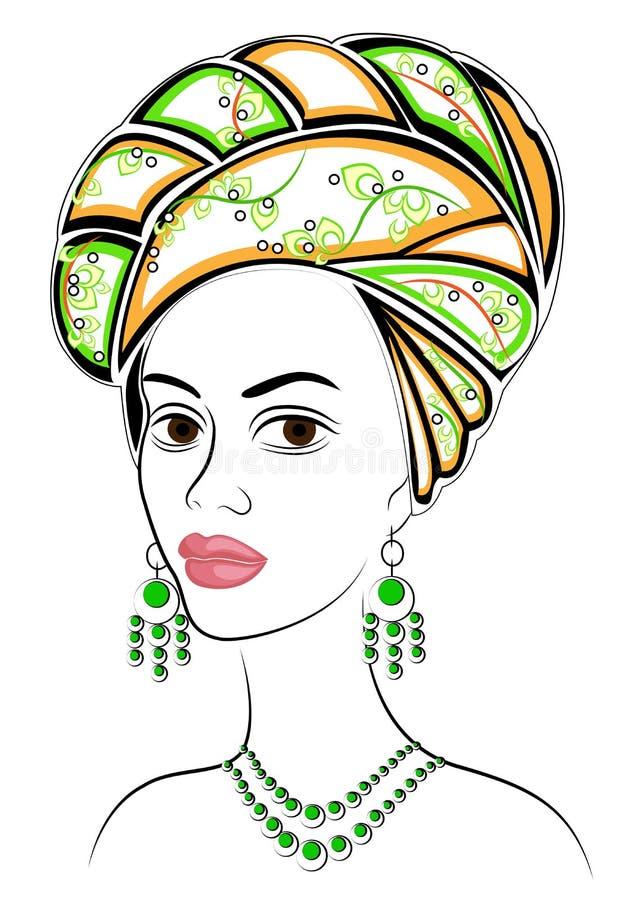 Silhouette d'une t?te d'une dame douce Un ch?le lumineux et un turban sont attach?s sur la t?te d'une fille afro-am?ricaine La fe illustration libre de droits
