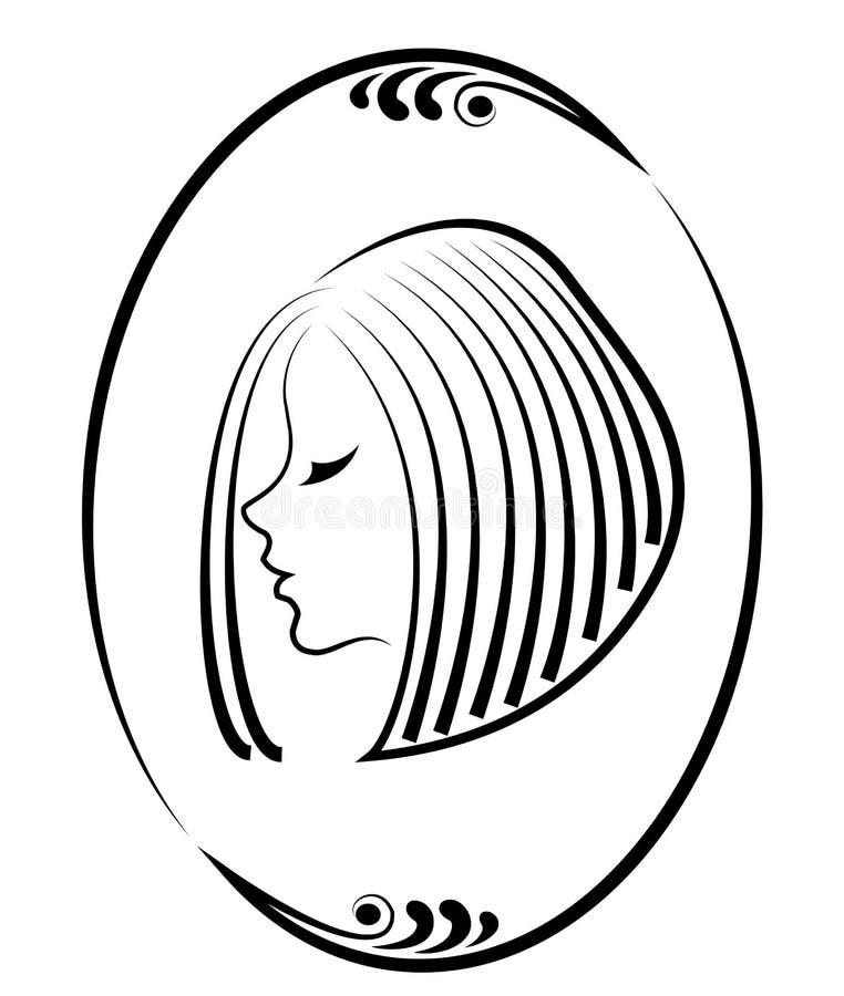 Silhouette d'une t?te d'une dame mignonne dans un cadre cr?atif Une fille montre ses cheveux sur les cheveux moyens et courts App illustration de vecteur