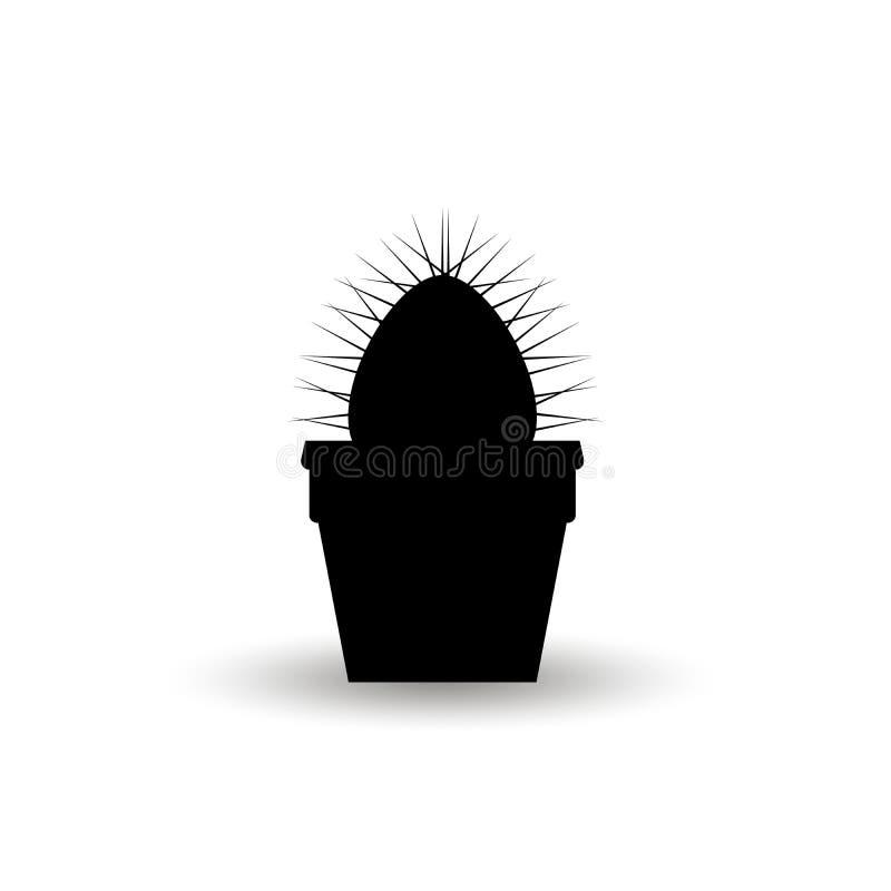 Silhouette d'une usine épineuse de cactus dans un pot de fleur Illustration noire graphique de vecteur d'isolement sur le fond bl illustration de vecteur