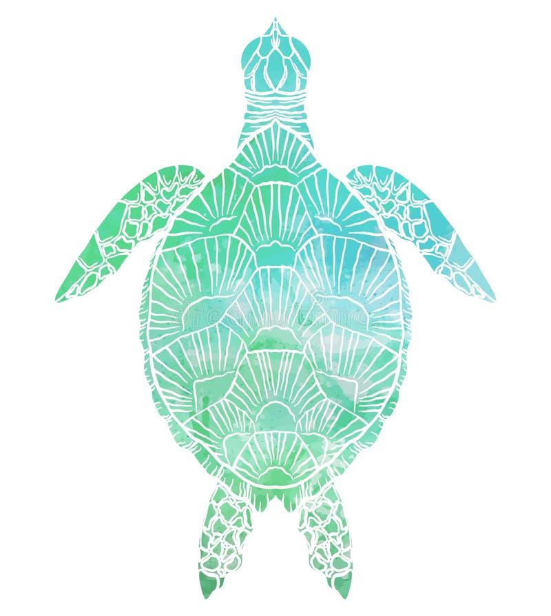 Silhouette d'une vue supérieure de tortue de mer avec le fond d'aquarelle de turquoise illustration de vecteur