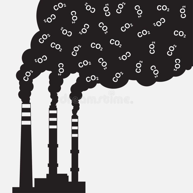 Silhouette d'usine avec de la fumée de nuage de CO2 de pollution de cheminée illustration libre de droits