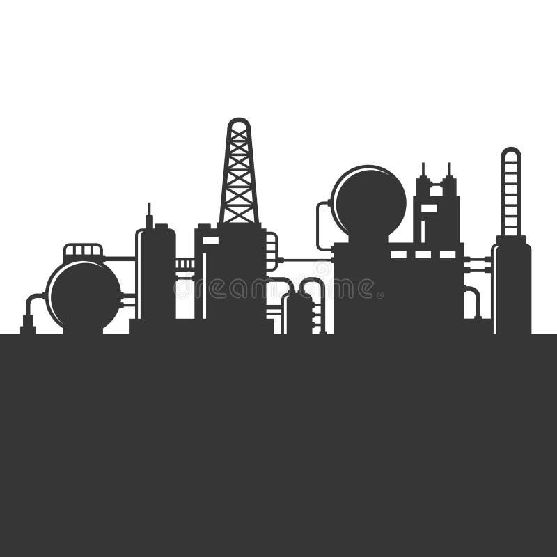 Silhouette d'usine de raffinerie de pétrole Vecteur illustration de vecteur