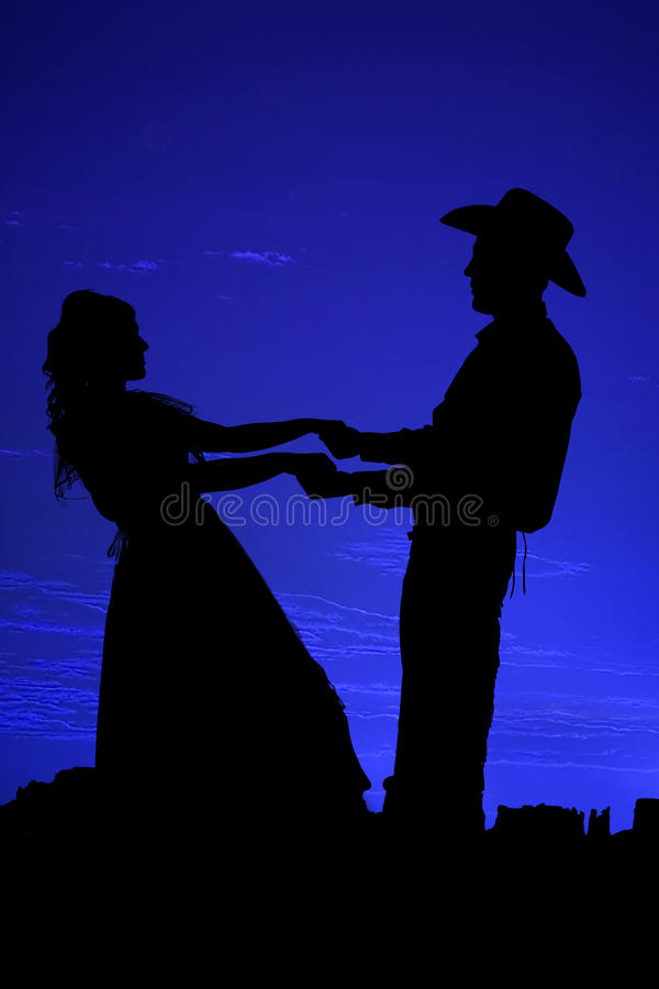 Free Silhouette Dancing Couple Stock Photography - 13380262