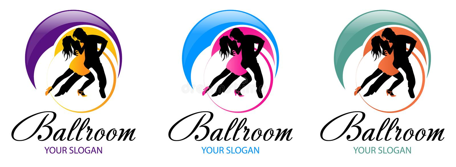 Silhouette of dancing couple. Dance logo designs template. Elements of dance multi colored icons. Simple icon for websites, web de royalty free illustration