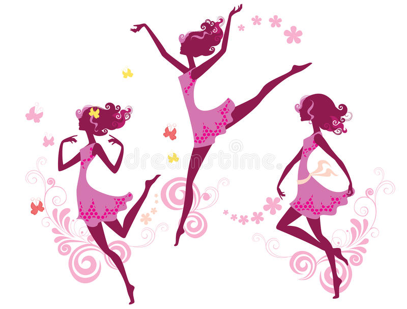 Silhouette of dancing girl royalty free illustration