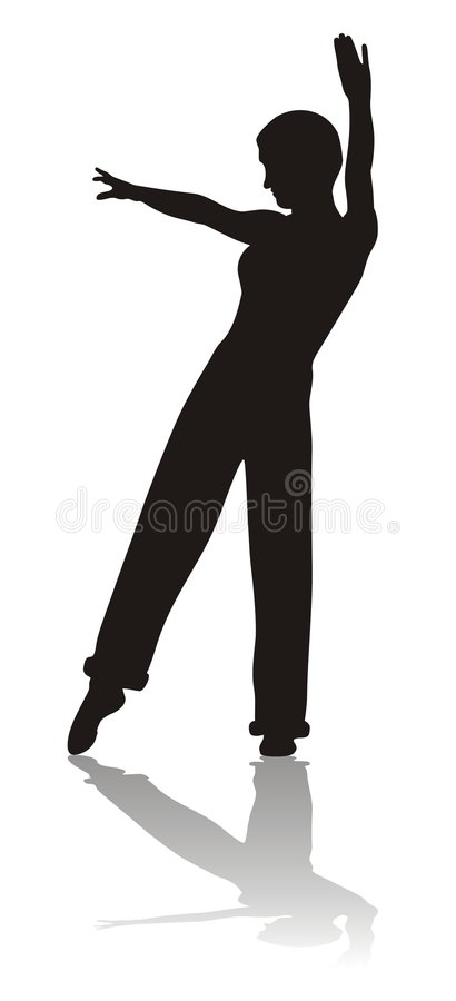 Silhouette of dancing girl stock photos