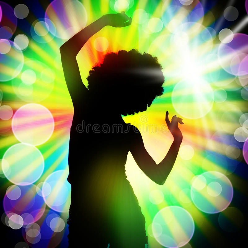 Night club. Silhouette of dancing girl against disco lights stock photo