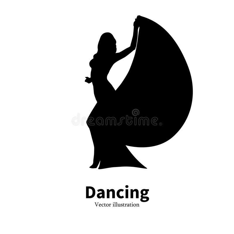 Silhouette dancing girl. Dancer Bollywood dance. Vector illustration of black silhouette of a dancing girl. Dancer woman on an isolated white background. The vector illustration