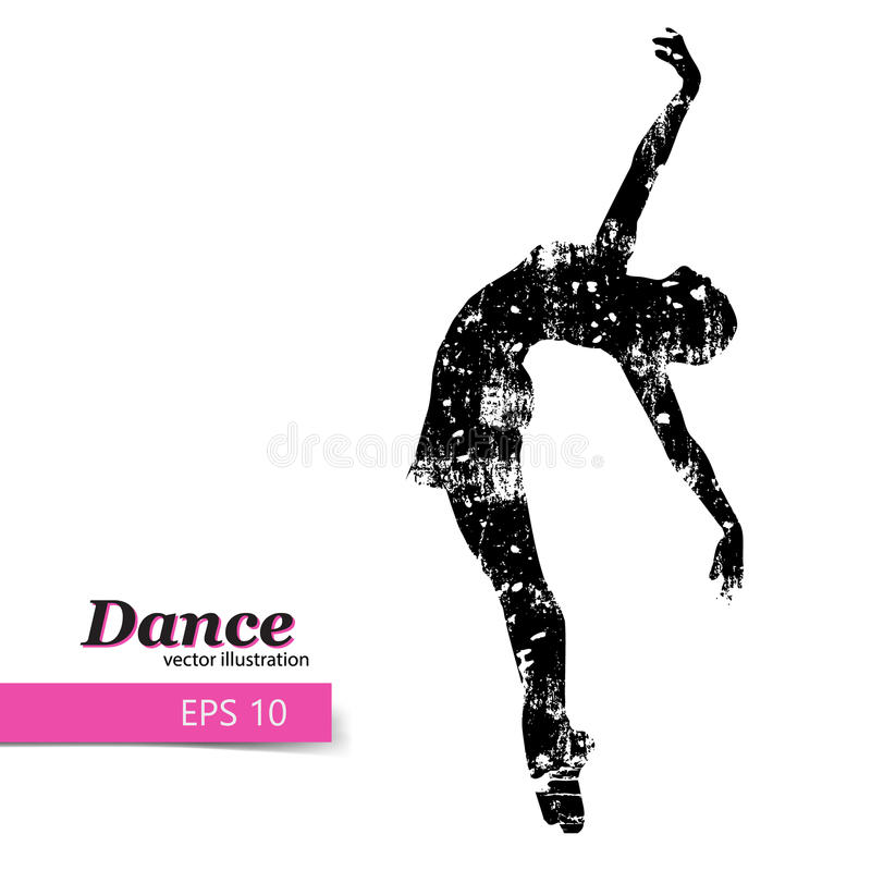 Silhouette of a dancing girl. Dancer woman. Silhouette of a dancing girl. Background and text on a separate layer, color can be changed in one click vector illustration