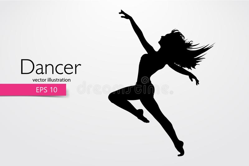 Silhouette of a dancing girl. Dancer woman. Vector illustration. Silhouette of a dancing girl. Background and text on a separate layer, color can be changed in