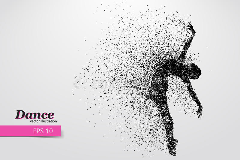 Silhouette of a dancing girl from particle. Dancer woman. Silhouette of a dancing girl of particle. Background and text on a separate layer, color can be stock illustration