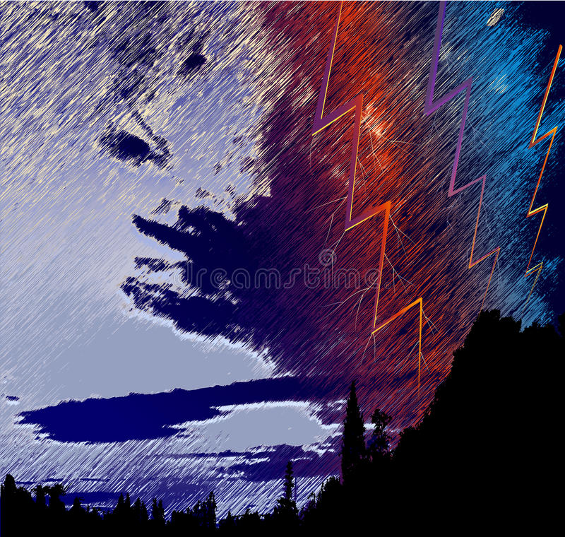 Silhouette of dark landscape with trees, storm clouds and lightning royalty free illustration