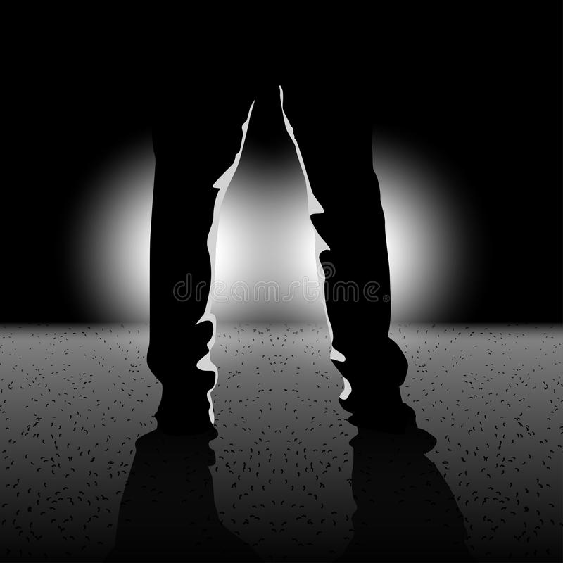 Silhouette in the darkness stock illustration