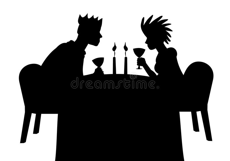 Silhouette of dating couple stock image
