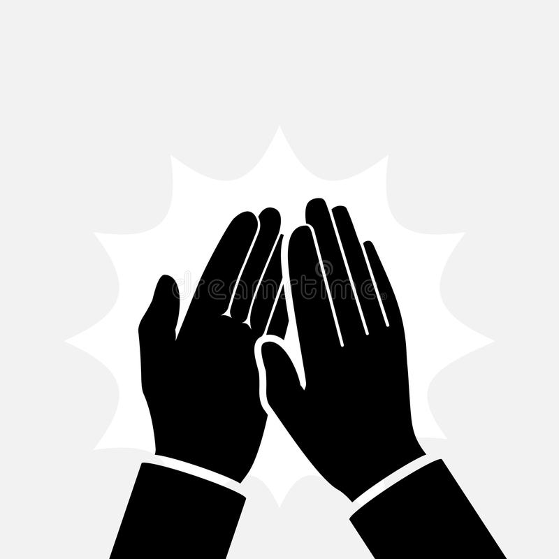 Silhouette de applaudissement d'icône de mains illustration stock