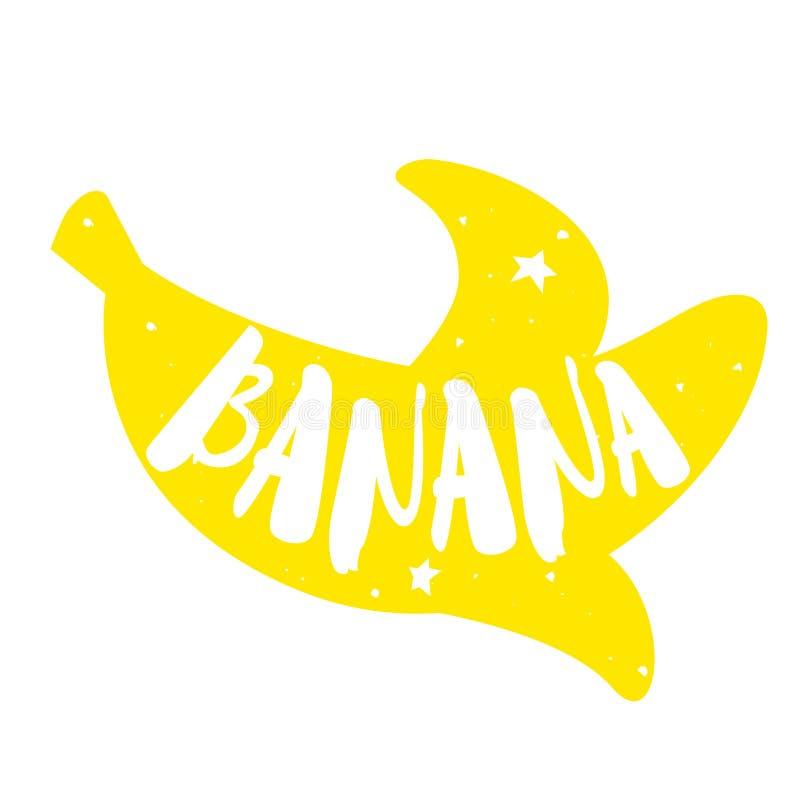 Silhouette de banane avec le texte de lettrage frais Label de couleur de vecteur illustration de vecteur