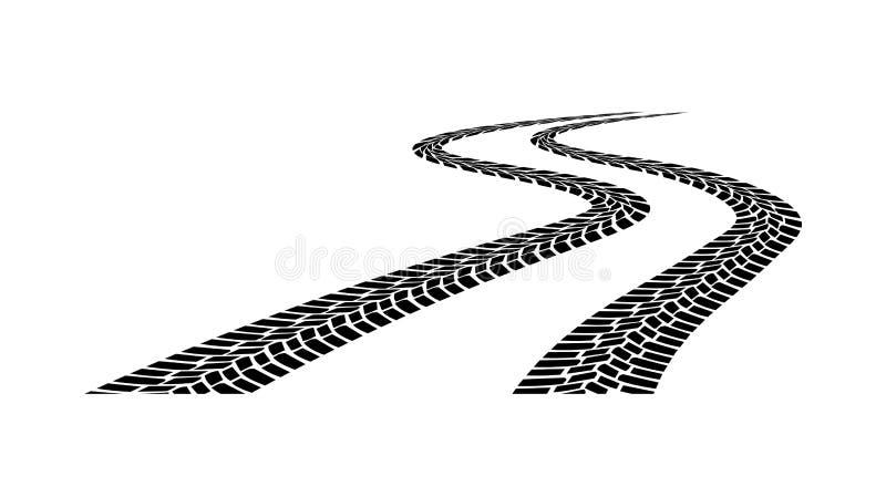 Silhouette de bande de roulement de voiture sur un fond blanc illustration libre de droits