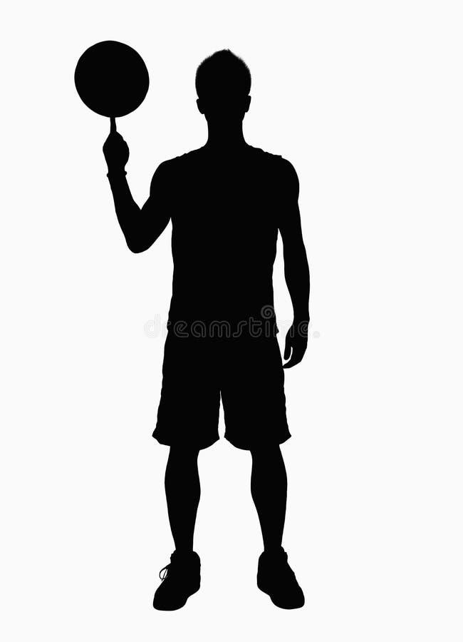 Silhouette de basket-ball de rotation de joueur de basket sur le doigt. image libre de droits