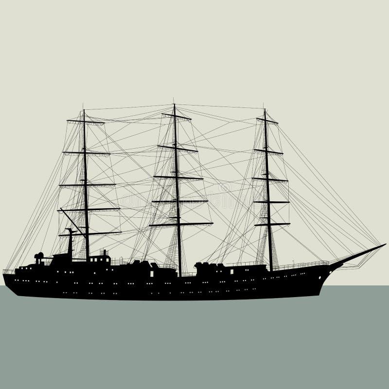 Silhouette de bateau à voile de bateau d'isolement sur le blanc illustration de vecteur