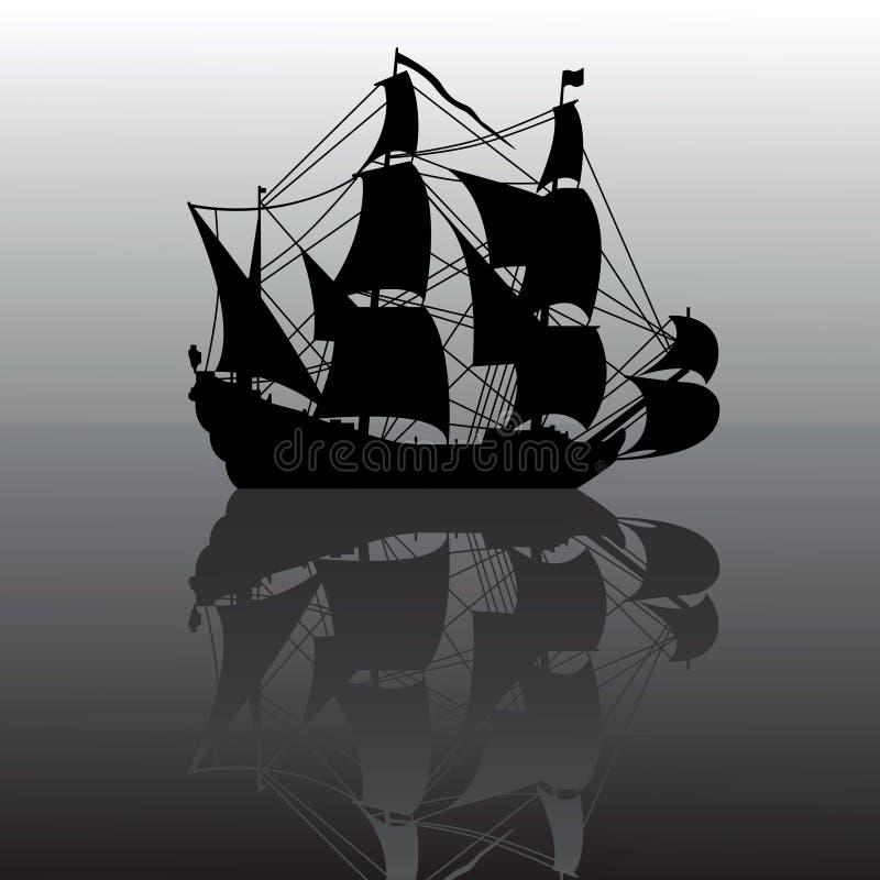 Silhouette de bateau à voiles illustration stock