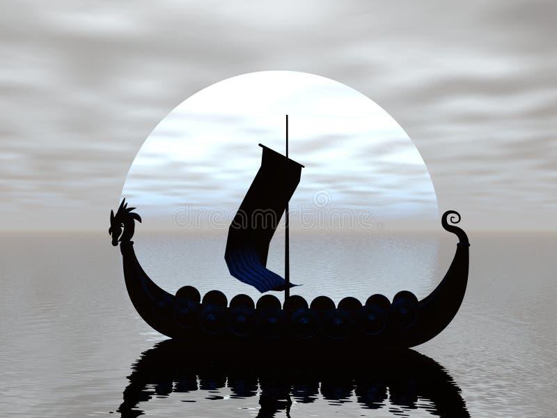 Silhouette de bateau de Viking illustration stock