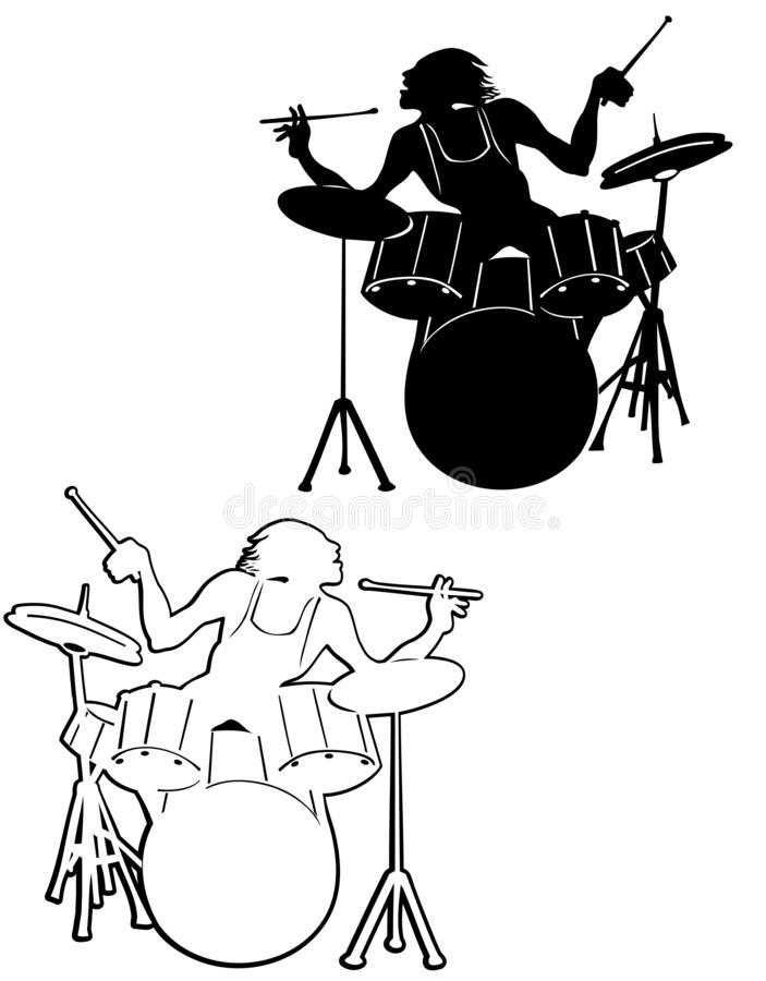 Silhouette de batteur d'A illustration stock