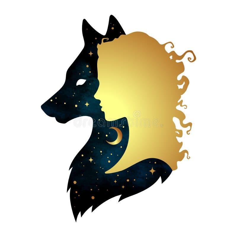 Silhouette de belle femme avec l'ombre du loup avec le croissant de lune et les étoiles d'isolement Vecteur IL de conception d'au illustration de vecteur