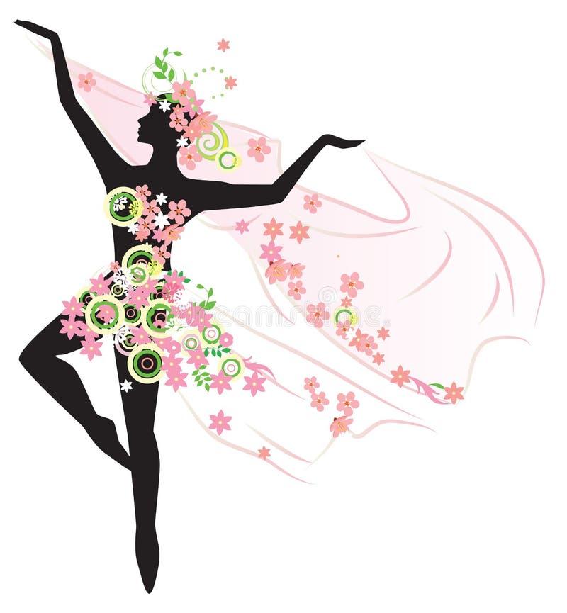 Silhouette de belle femme de danse illustration de vecteur