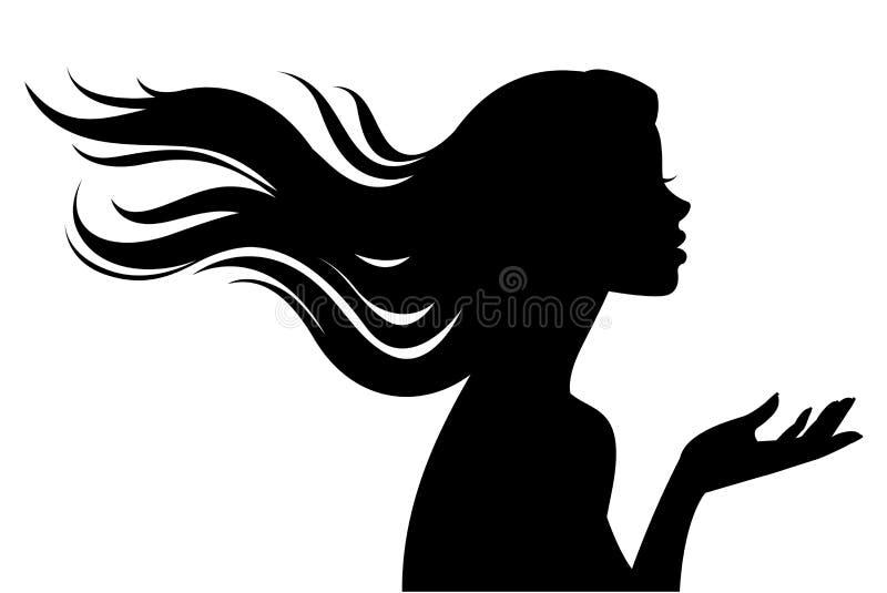 Silhouette de belle fille dans le profil avec de longs cheveux illustration stock