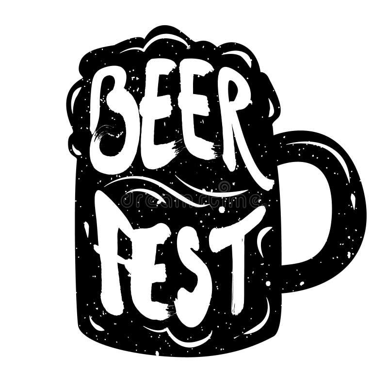 Silhouette de bière de tasse avec le vecteur de Fest de bière des textes de lettrage illustration stock