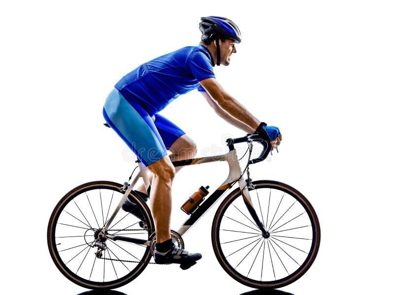 Silhouette de bicyclette de route de recyclage de cycliste photo libre de droits
