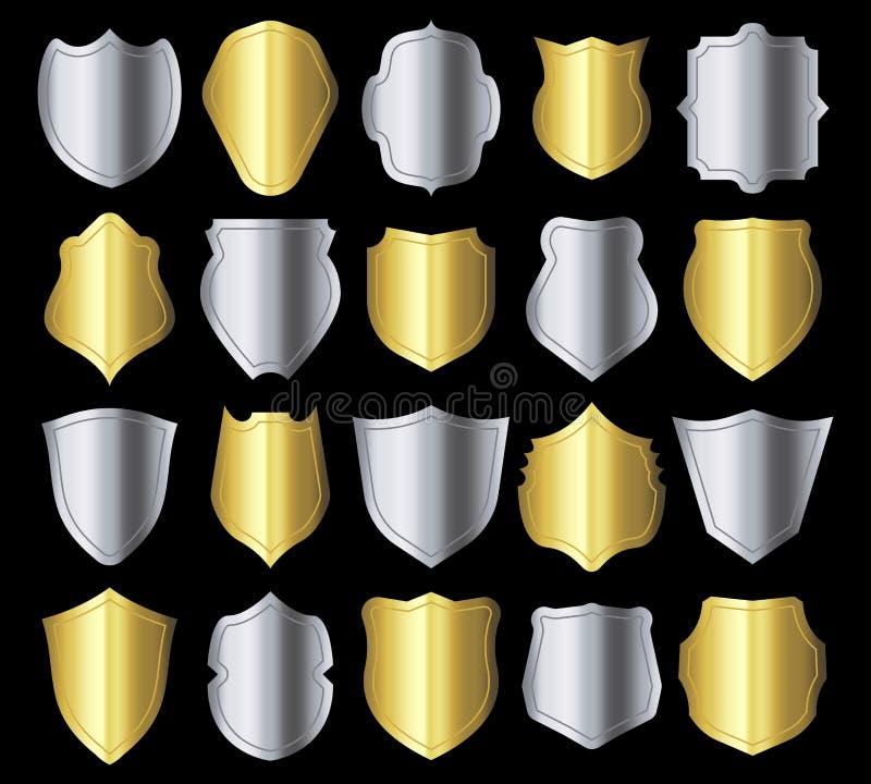 Silhouette de bouclier Rétro cadre de crêtes, sécurité argentée en métal protégeant l'emblème et les silhouettes héraldiques d'or illustration libre de droits