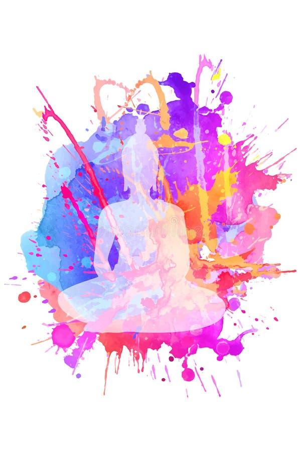 Silhouette de Bouddha méditant en position de lotus simple D'isolement sur une tache texturisée lumineuse d'aquarelle illustration de vecteur