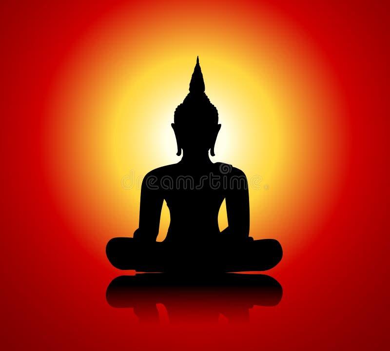 Silhouette de Bouddha sur le fond rouge illustration stock