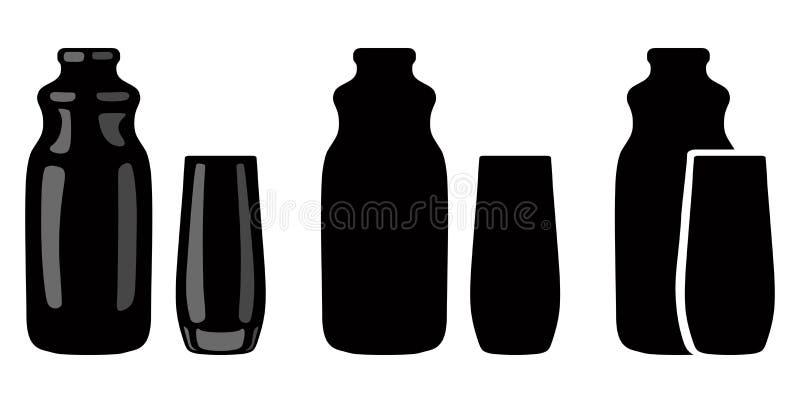 Silhouette de bouteille pour le jus et le verre verrerie Illustration de vecteur image stock