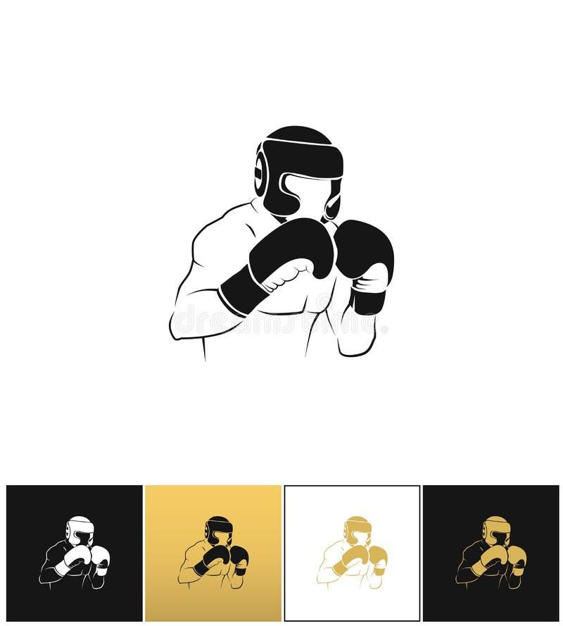 Silhouette de boxeur ou icône de vecteur de combat de boxe illustration libre de droits