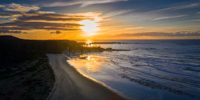 Silhouette de côte de l'Orégon de plage et d'arbres photos stock