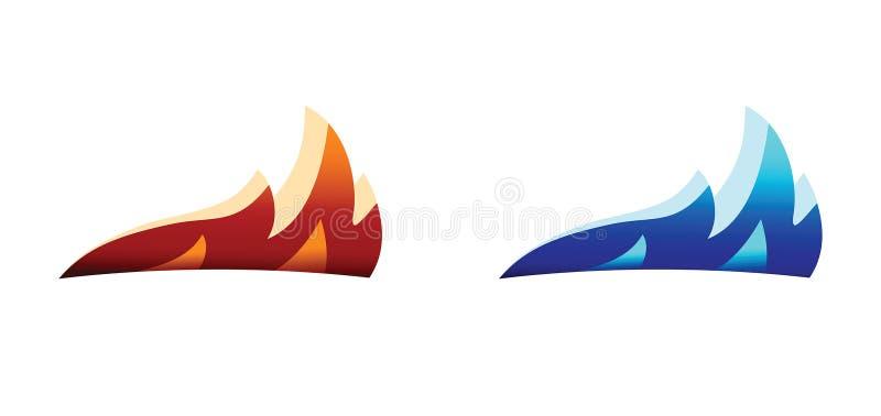 Silhouette de calibre de vecteur de conception de logo de flamme du feu illustration libre de droits