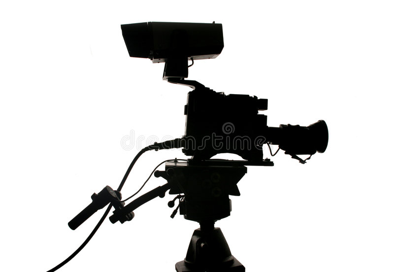Silhouette de caméra vidéo de studio images libres de droits