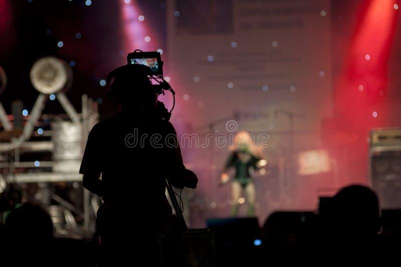 Silhouette de cameraman photographie stock