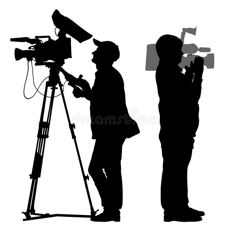 Silhouette de cameraman illustration de vecteur