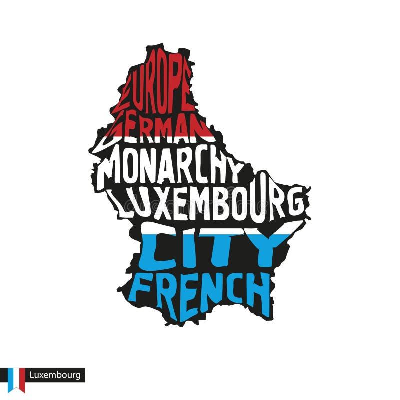 Silhouette de carte de typographie du Luxembourg dans des couleurs de noir et de drapeau illustration libre de droits