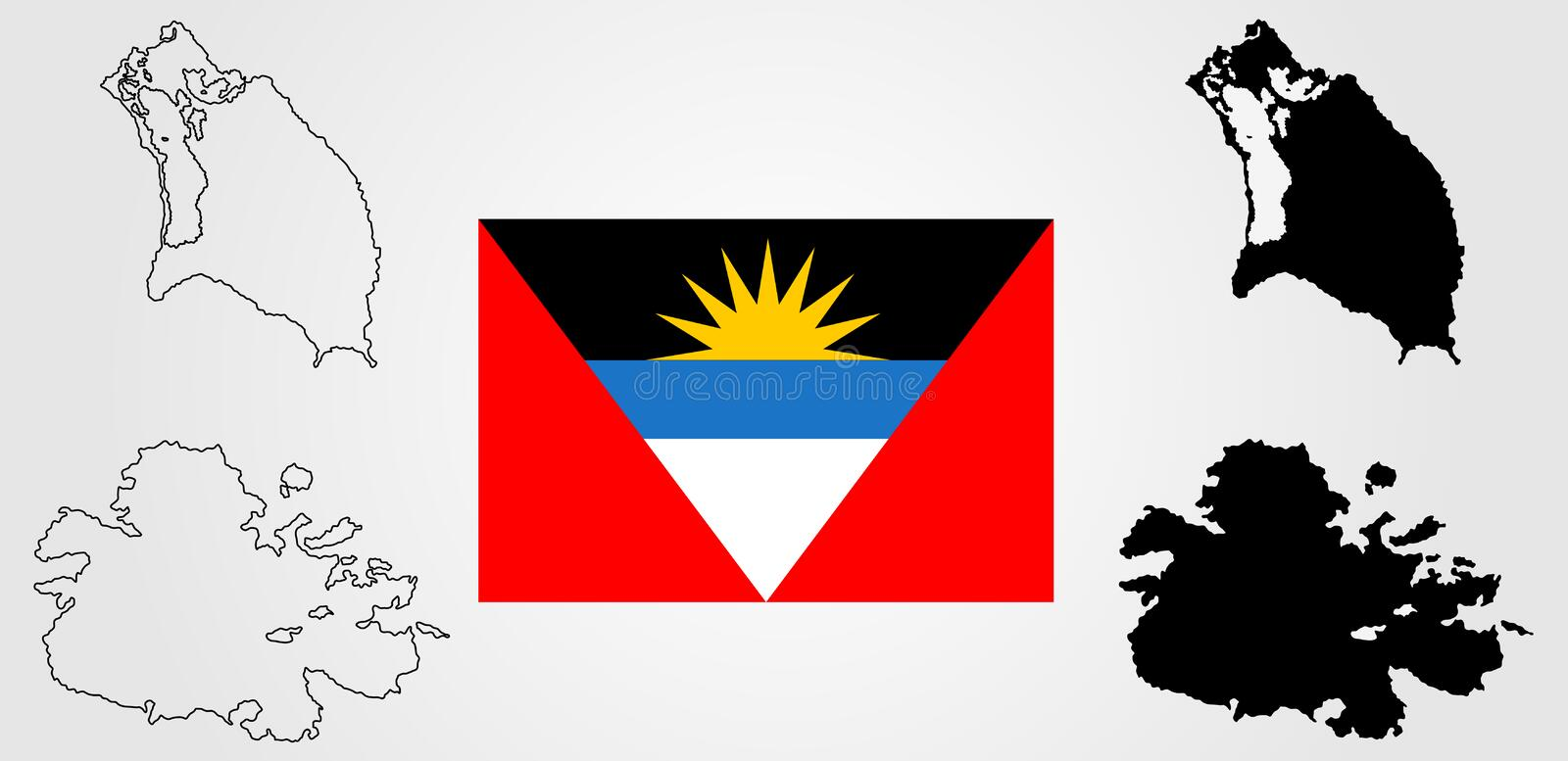 Silhouette de carte de vecteur de l'Antigua-et-Barbuda et drapeau de vecteur illustration libre de droits