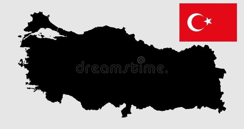 Silhouette de carte de vecteur de la Turquie et drapeau de la Turquie de vecteur illustration libre de droits