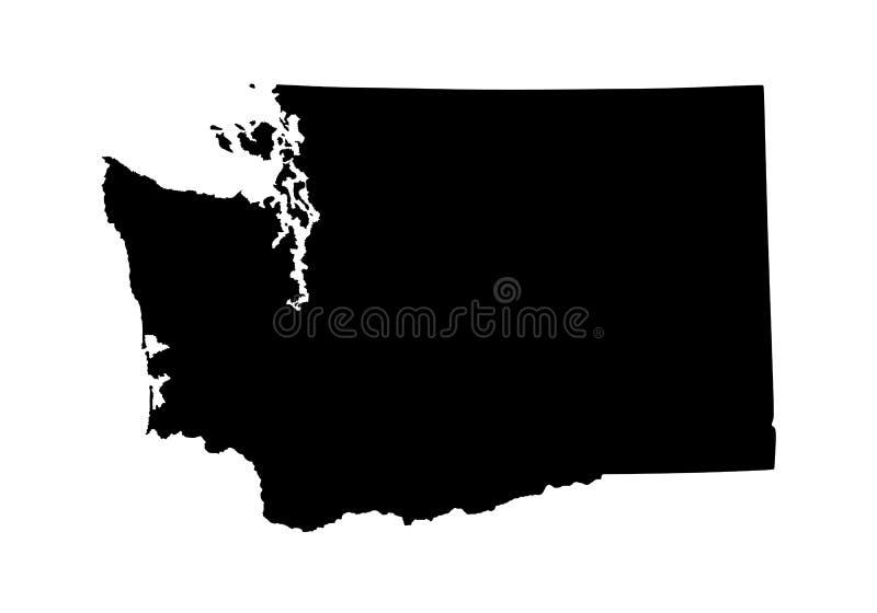 Silhouette de carte de Washington State illustration stock