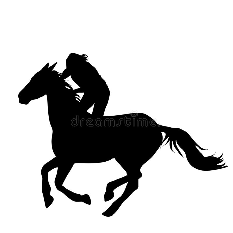 Silhouette de cavalier de cheval illustration stock