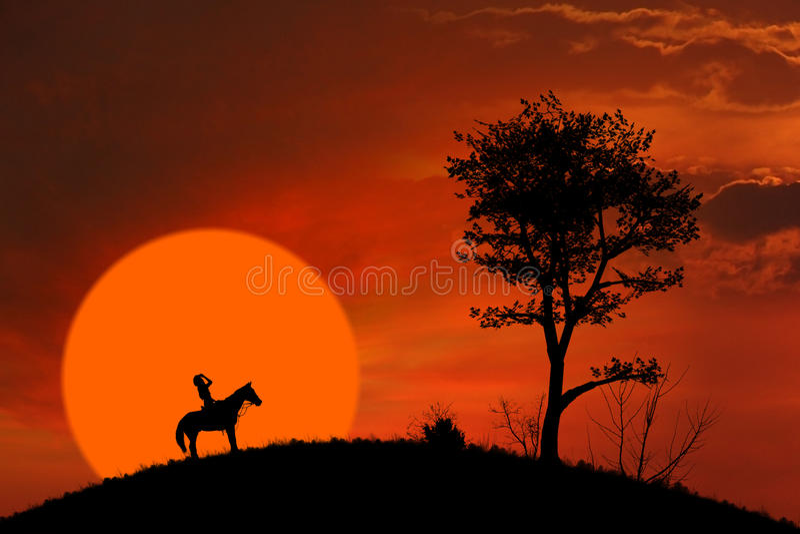Silhouette de cavalier de cheval au coucher du soleil orange photos libres de droits