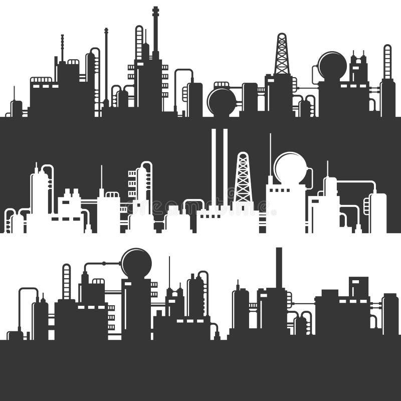 Silhouette de centrale de raffinerie de pétrole et de gaz Ensemble de modèle de vecteur illustration de vecteur