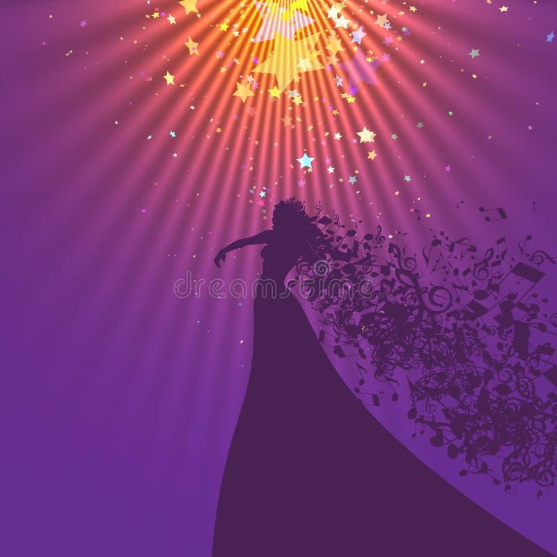 Silhouette de chanteur d'opéra et de symboles musicaux illustration libre de droits