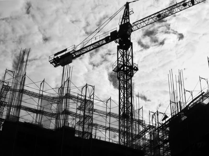 Silhouette de chantier de construction photo stock